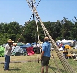 Eustace Conway putting up Tipi Poles